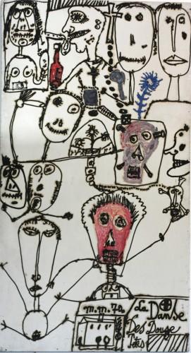 M Macréau, La danse des douze têtes, 1985, huile sur panneau, coll part.jpg